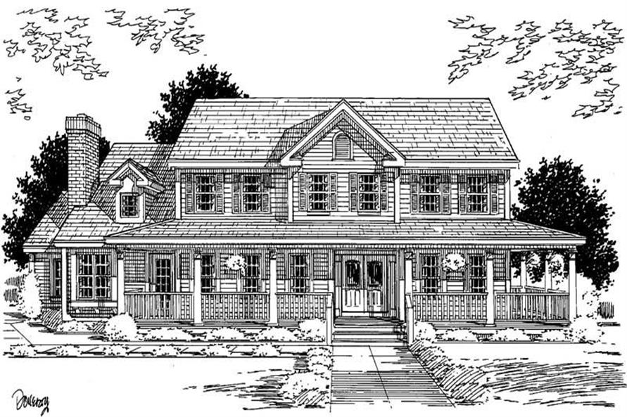 4-Bedroom, 2787 Sq Ft Country Home Plan - 121-1036 - Main Exterior