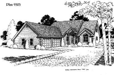 3-Bedroom, 2303 Sq Ft Home Plan - 121-1037 - Main Exterior