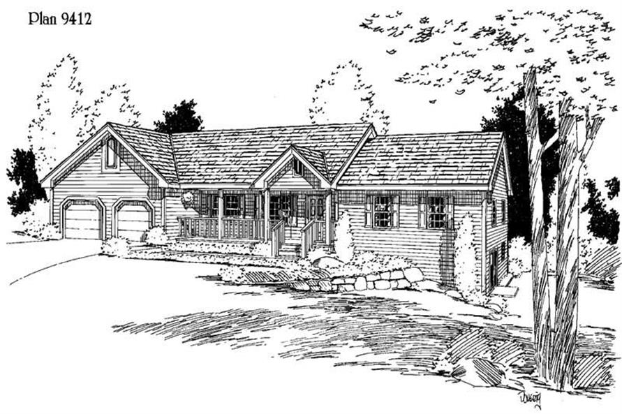 3-Bedroom, 2181 Sq Ft Ranch House Plan - 121-1039 - Front Exterior