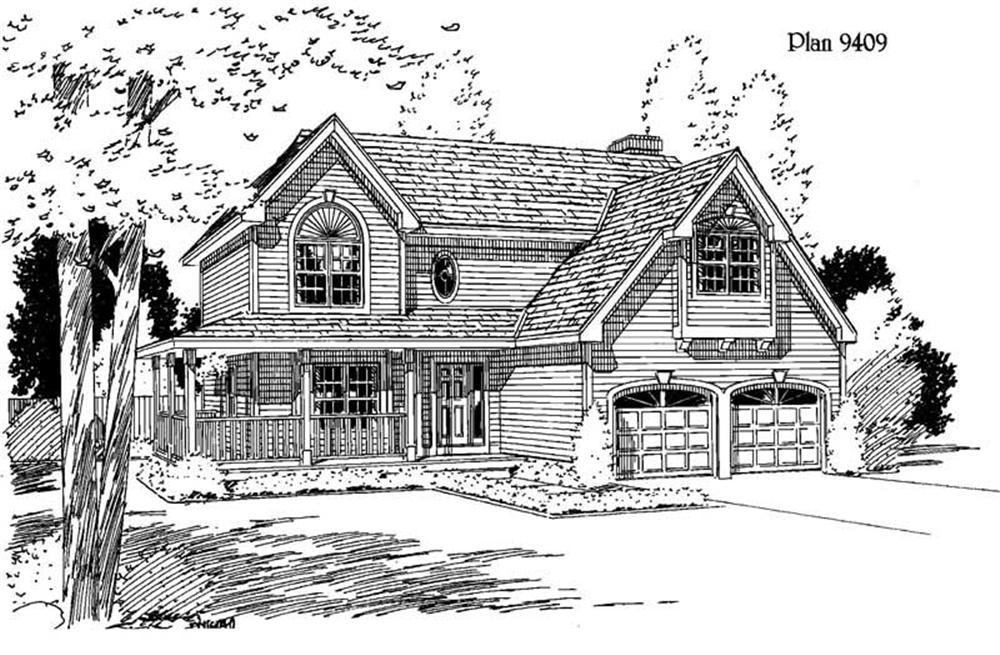 Farmhouse home (ThePlanCollection: Plan #121-1040)