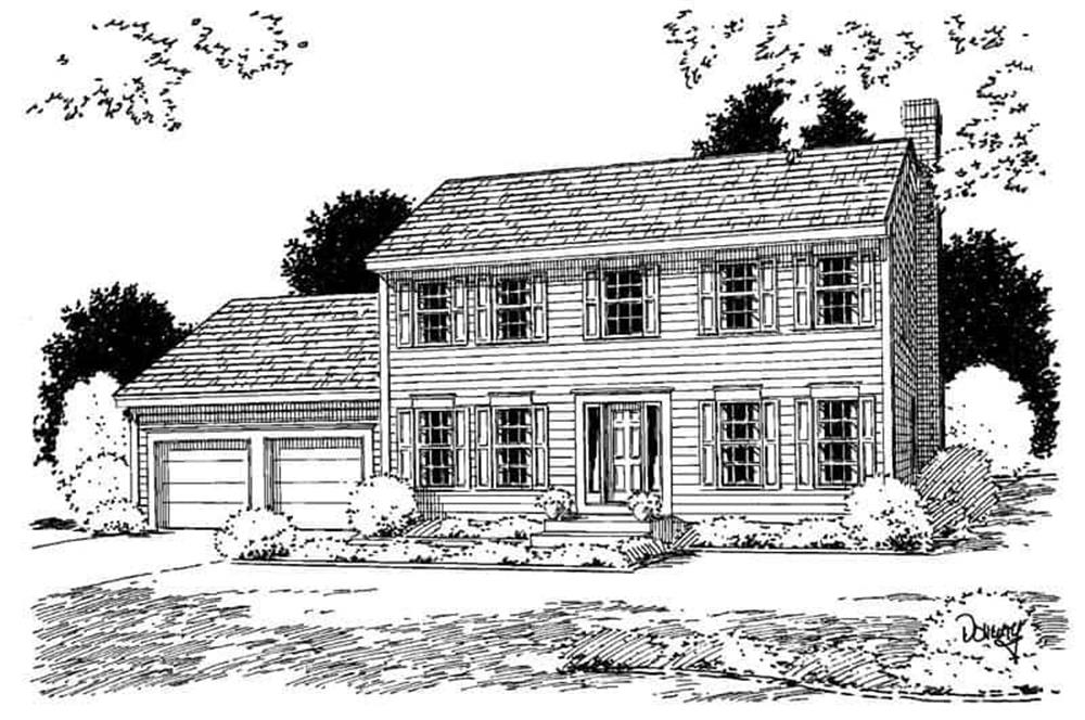 Front elevation of Colonial home (ThePlanCollection: House Plan #121-1041)