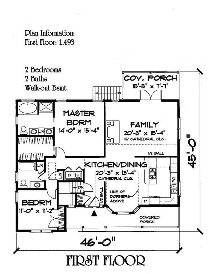 Small House Plans Home Plan 2 Bedrms, Small 1 2 Story House Plans