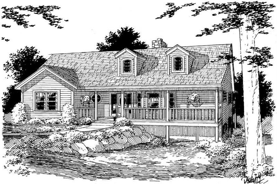 Home Plan Front Elevation of this 2-Bedroom,1493 Sq Ft Plan -121-1048