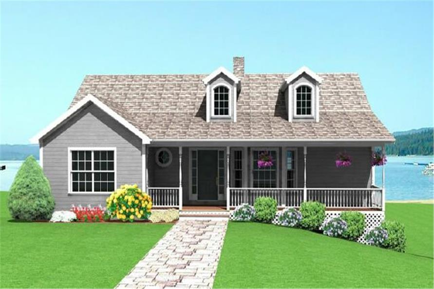 Front elevation of Small House Plans home (ThePlanCollection: House Plan #121-1048)