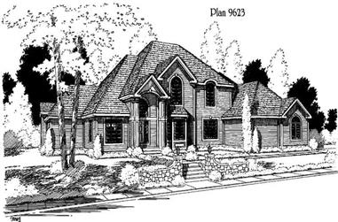 4-Bedroom, 4048 Sq Ft Luxury House Plan - 121-1057 - Front Exterior
