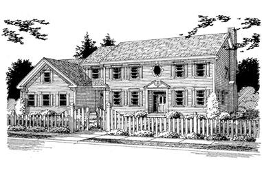 3-Bedroom, 2863 Sq Ft Colonial Home Plan - 121-1060 - Main Exterior