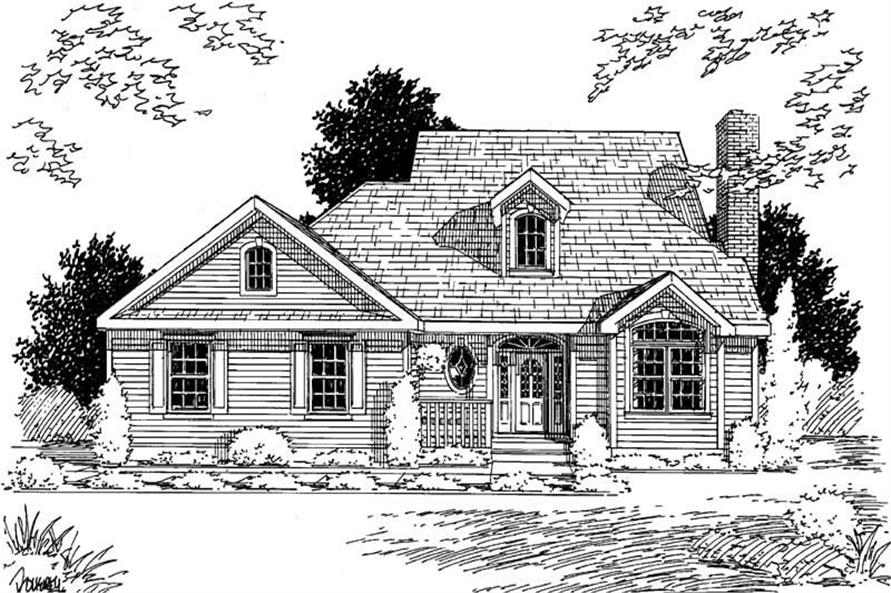 3-Bedroom, 1696 Sq Ft Country Home Plan - 121-1061 - Main Exterior