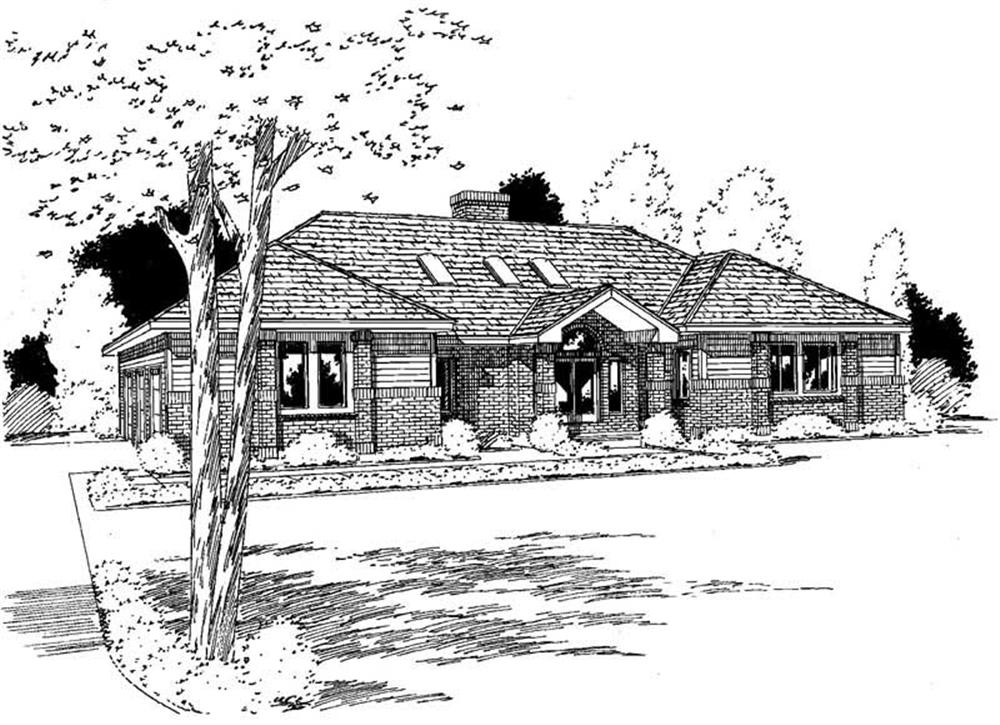 Front elevation of Ranch home (ThePlanCollection: House Plan #121-1063)