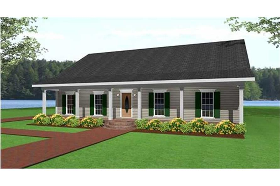 Home Plan Rendering of this 3-Bedroom,1500 Sq Ft Plan -123-1000