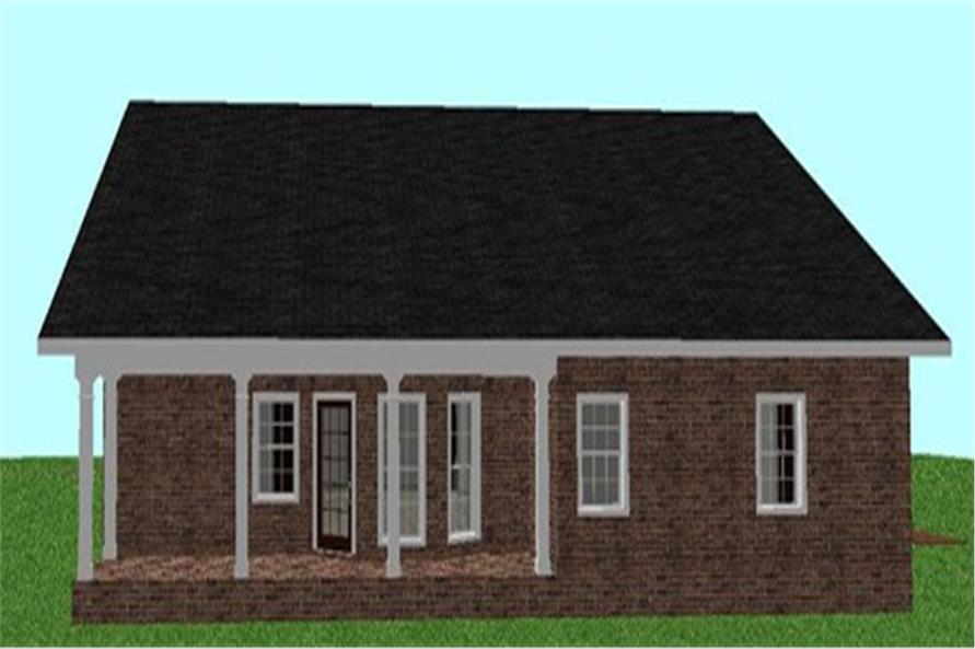 Home Plan Rear Elevation of this 3-Bedroom,1500 Sq Ft Plan -123-1000