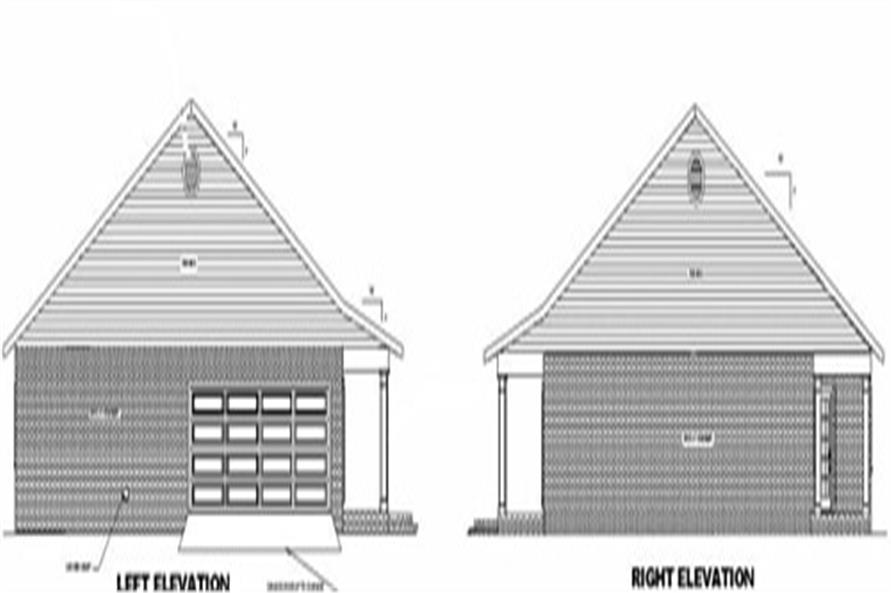 Home Plan Left & Right Elevations of this 3-Bedroom,1500 Sq Ft Plan -123-1000