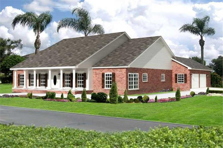3-Bedroom, 2459 Sq Ft Southern House Plan - 123-1003 - Front Exterior