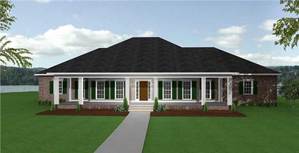 Home Plan Front Elevation for southern home plans # DP-2607
