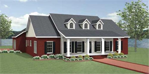 This is a computerized rendering for these Country House Plans.