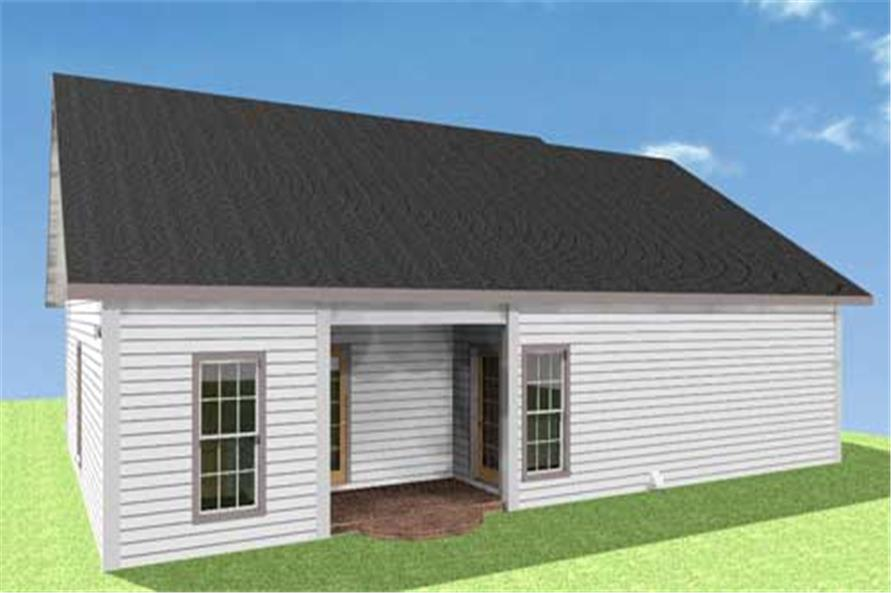 Home Plan Rear Elevation of this 2-Bedroom,1152 Sq Ft Plan -123-1007