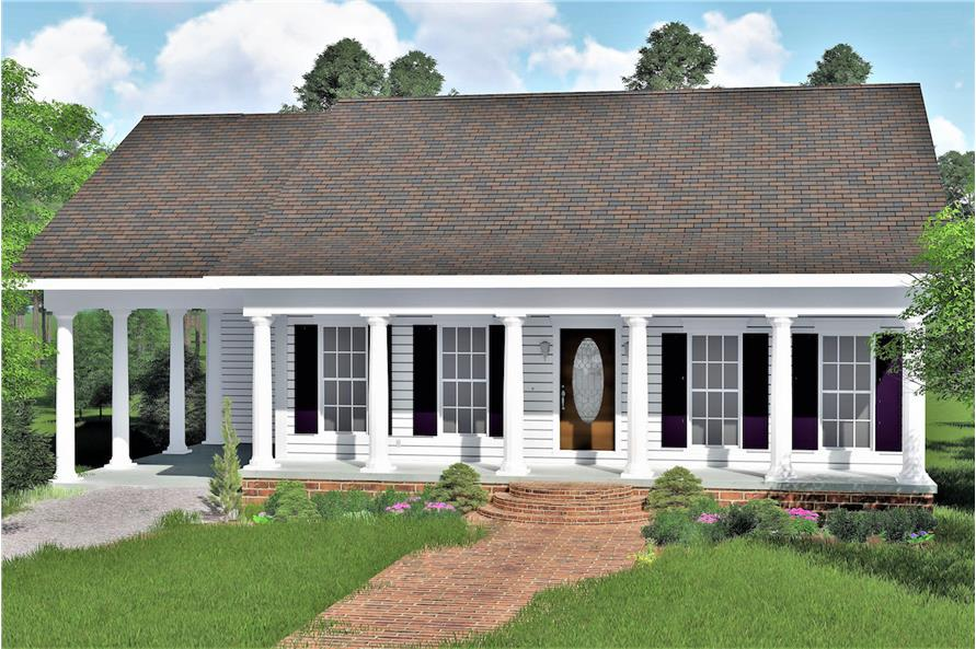 Color rendering of Small House Plans home plan (ThePlanCollection: House Plan #123-1007)