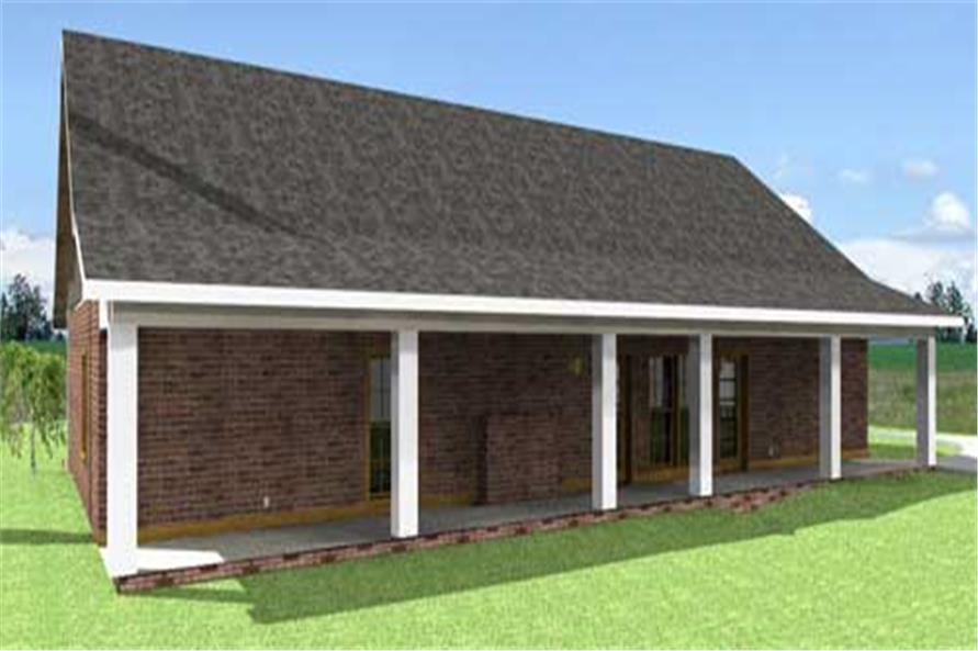 Home Plan Rear Elevation of this 4-Bedroom,1856 Sq Ft Plan -123-1008