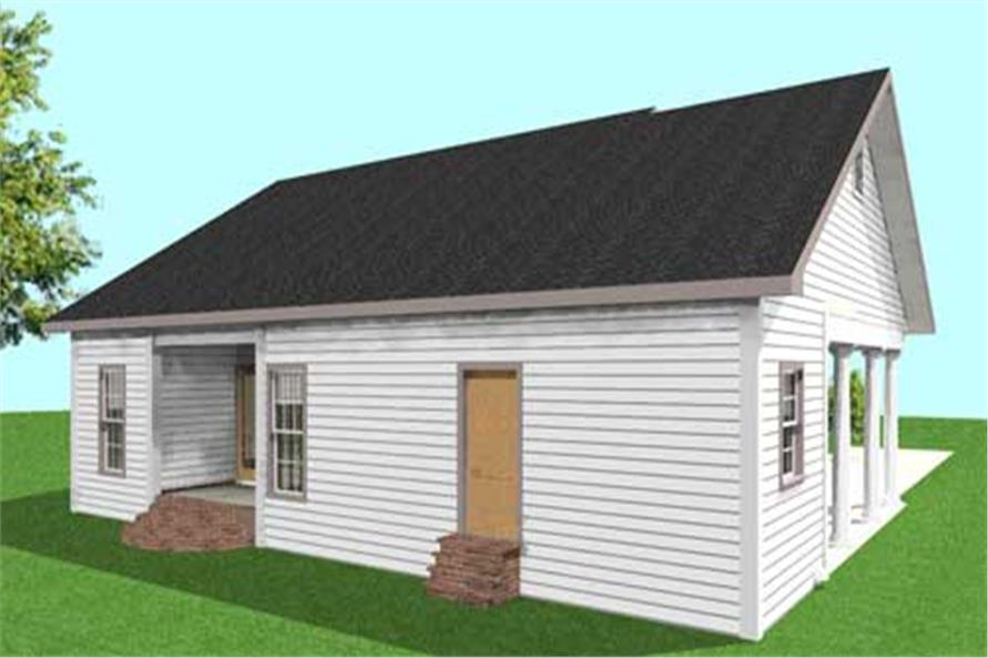 Home Plan Rear Elevation of this 2-Bedroom,1301 Sq Ft Plan -123-1009