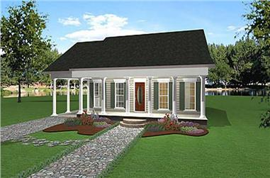 2-Bedroom, 1301 Sq Ft Country Home Plan - 123-1009 - Main Exterior