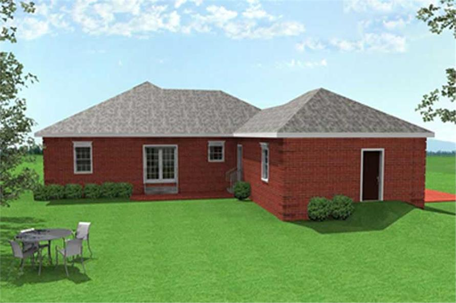 Home Plan Rear Elevation of this 3-Bedroom,1575 Sq Ft Plan -123-1013