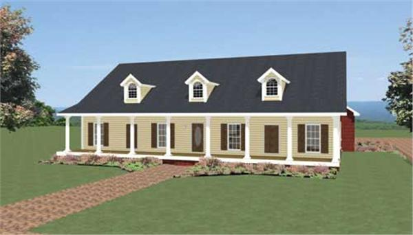 This image is a computer rendering of the front of these Southern Home Plans.