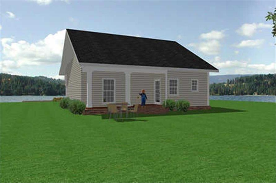Home Plan Rear Elevation of this 2-Bedroom,1097 Sq Ft Plan -123-1017