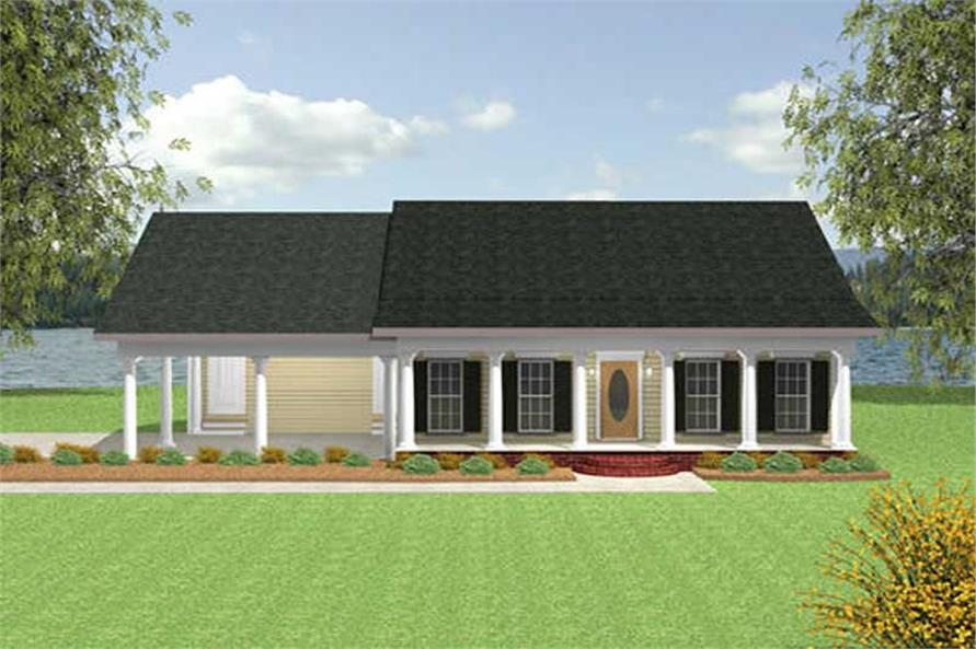 2-Bedroom, 1152 Sq Ft Small House Plans - 123-1018 - Front Exterior
