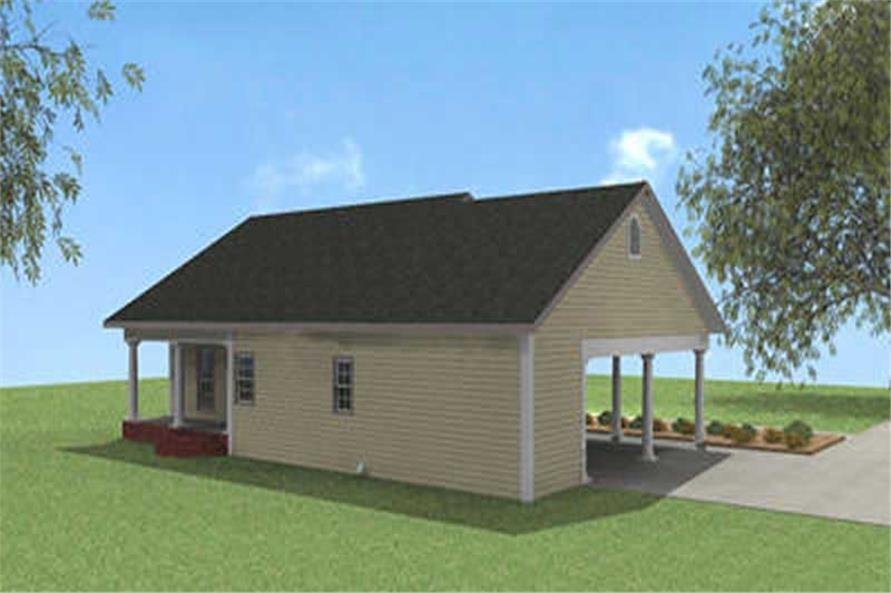 Home Plan Rear Elevation of this 2-Bedroom,1152 Sq Ft Plan -123-1018