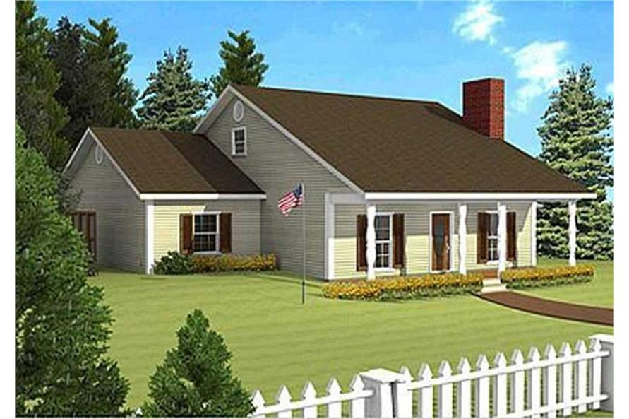 Home Plan Rendering of this 3-Bedroom,1377 Sq Ft Plan -1377