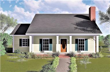 3-Bedroom, 1377 Sq Ft Country Home Plan - 123-1019 - Main Exterior