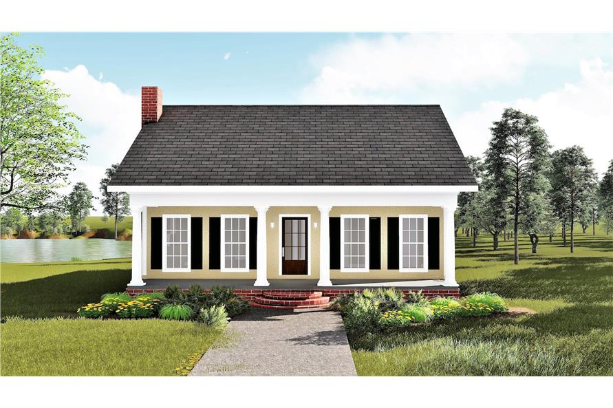 Home Plan Front Elevation of this 3-Bedroom,1587 Sq Ft Plan -123-1020