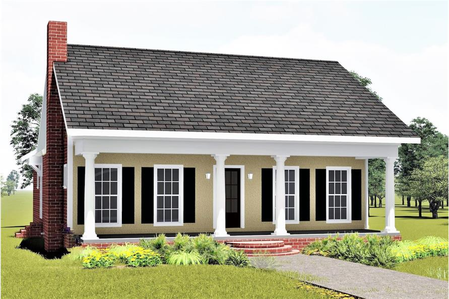 Front elevation of Southern home plan (ThePlanCollection: House Plan #123-1020)