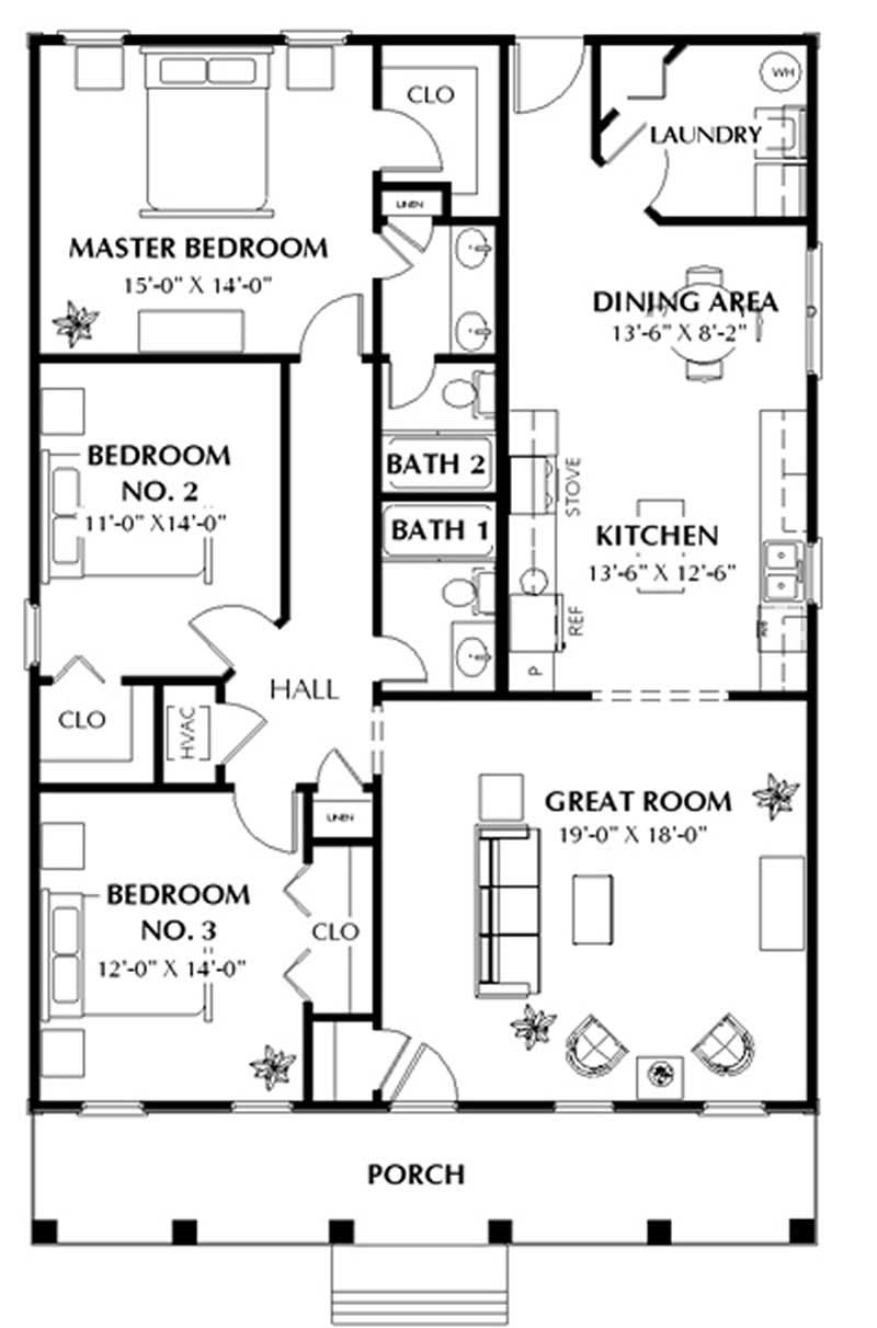 3 bedrm 1587 sq ft southern house plan 123 1020 for Three bedroom cabin plans