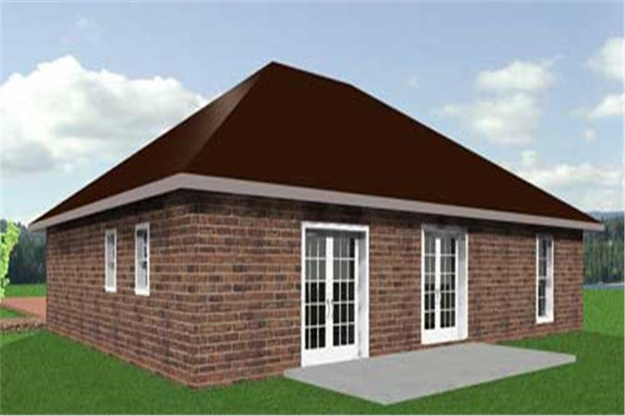 Home Plan Rear Elevation of this 3-Bedroom,1551 Sq Ft Plan -123-1021