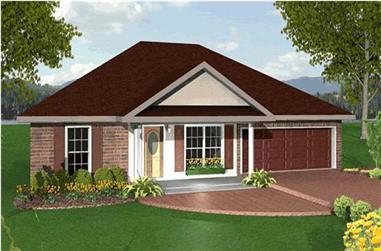 3-Bedroom, 1551 Sq Ft Ranch Home Plan - 123-1021 - Main Exterior