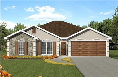 3-Bedroom, 1609 Sq Ft European Home Plan - 123-1022 - Main Exterior