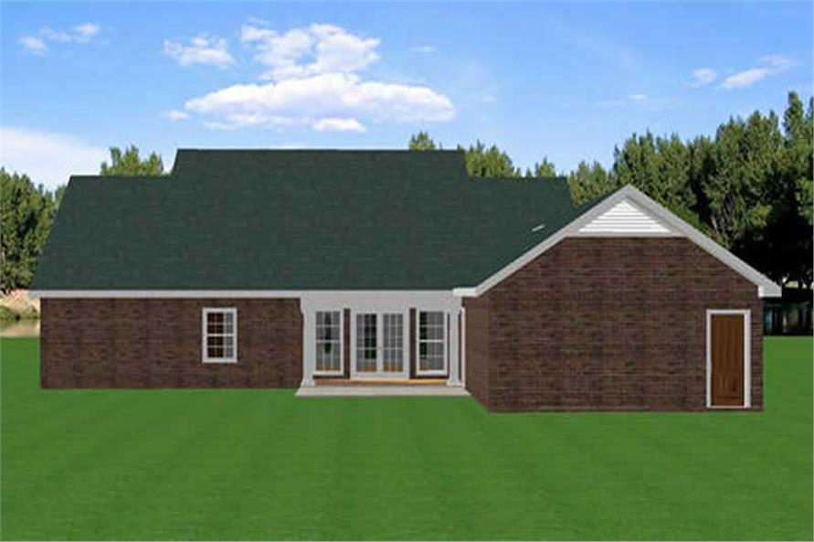 Home Plan Rear Elevation of this 3-Bedroom,2046 Sq Ft Plan -123-1023
