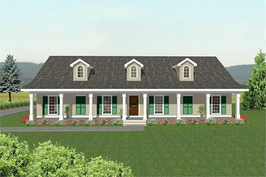 3-Bedroom, 2189 Sq Ft Country Home Plan - 123-1028 - Main Exterior