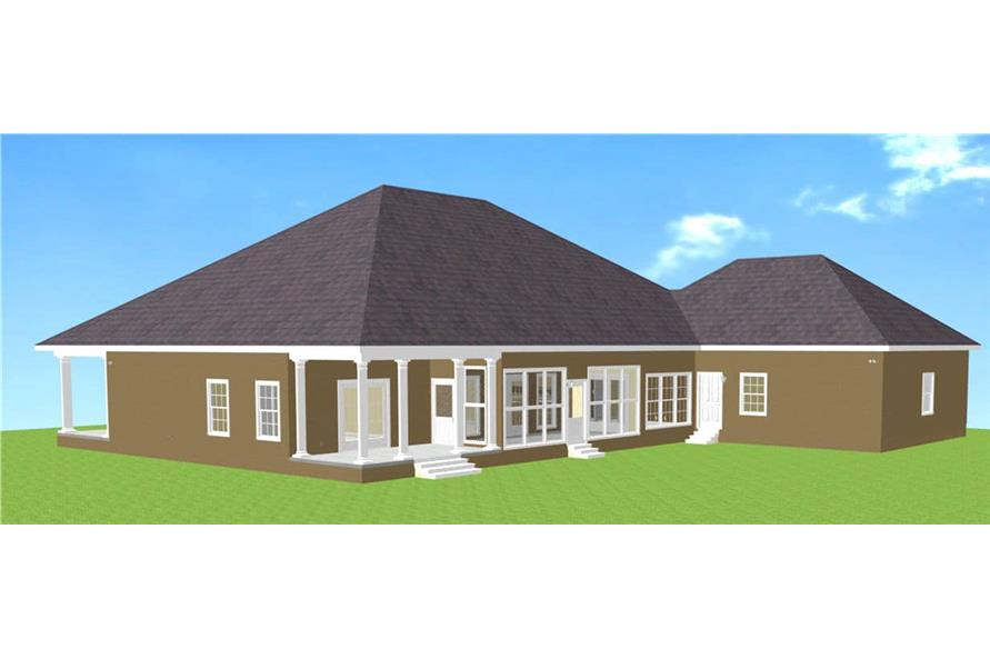 Rear View of this 3-Bedroom,2775 Sq Ft Plan -123-1030