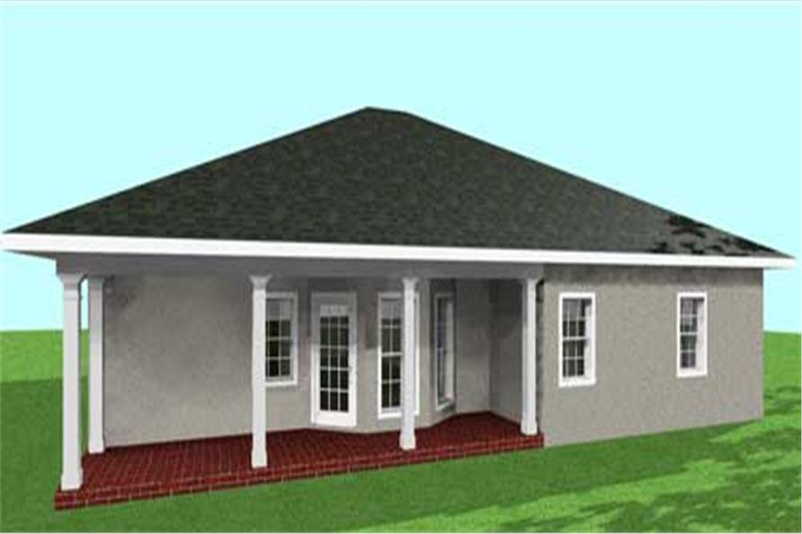 Home Plan Rear Elevation of this 3-Bedroom,1500 Sq Ft Plan -123-1031
