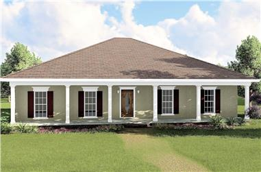 Color rendering of European home plan (ThePlanCollection: House Plan #123-1031)