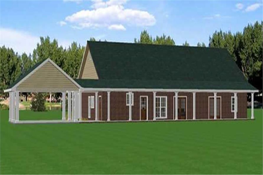 Home Plan Rear Elevation of this 4-Bedroom,2492 Sq Ft Plan -123-1033