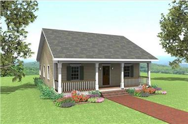 2-Bedroom, 1007 Sq Ft Country House Plan - 123-1035 - Front Exterior