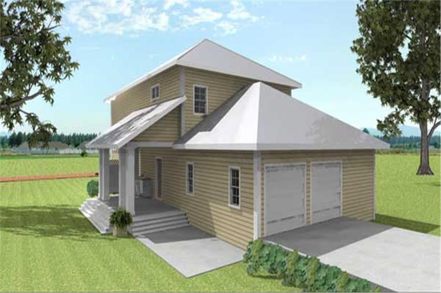 Home Plan Rear Elevation of this 4-Bedroom,2415 Sq Ft Plan -123-1037