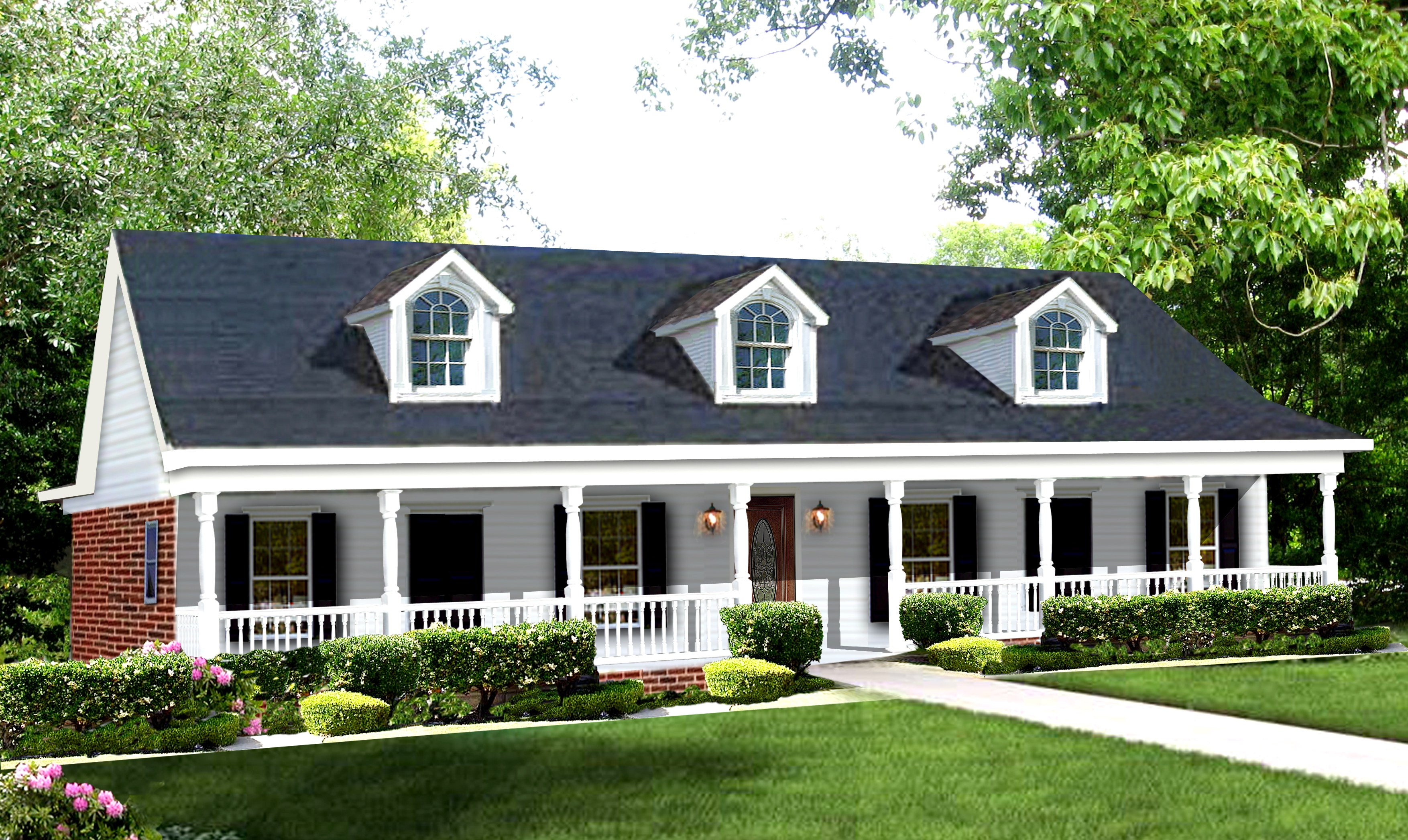 charming country house plan #10: #123-1039 · Color rendering of house plan #123-1039