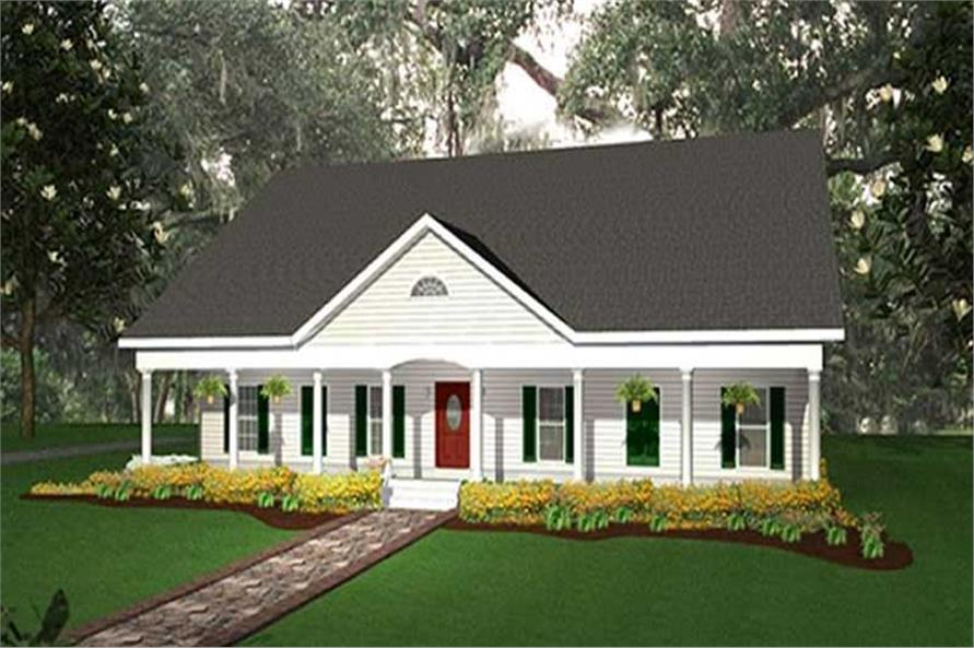 4-Bedroom, 2110 Sq Ft Country Home Plan - 123-1040 - Main Exterior