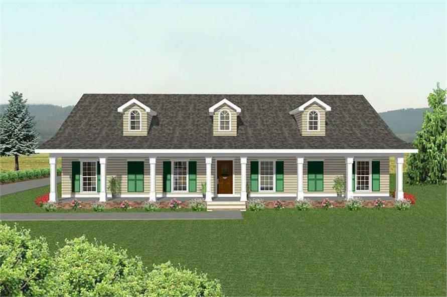 4-Bedroom, 2172 Sq Ft Country Home Plan - 123-1041 - Main Exterior