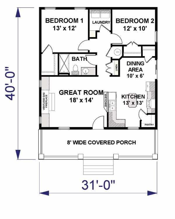 Home Plan : # 123-1042 Floor Plan First Story