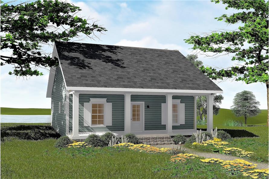 Color rendering of Small House Plans home (ThePlanCollection: House Plan #123-1042)