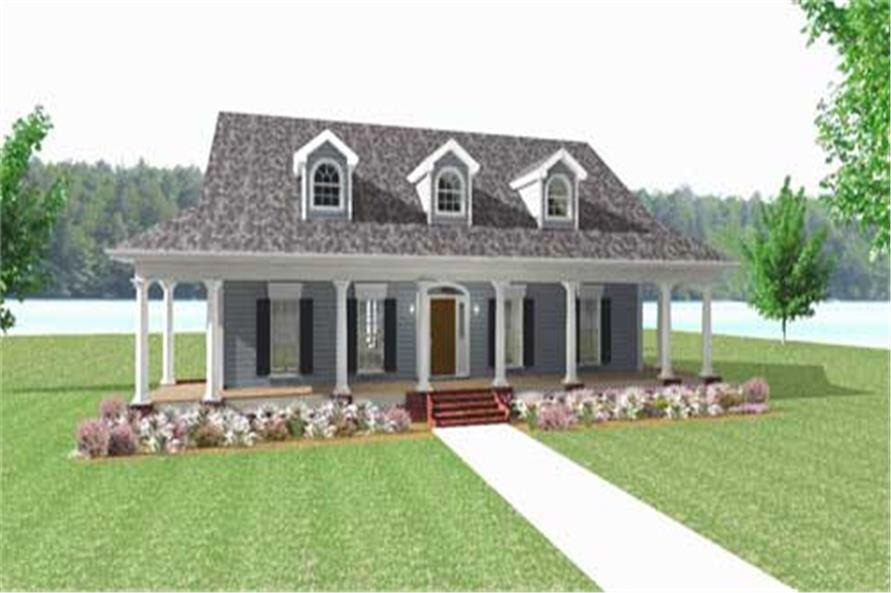 This is a computer rendered front elevation of these Country House Plans.